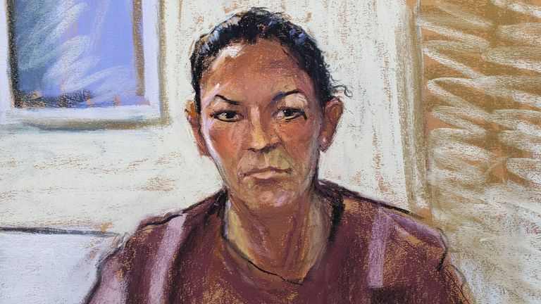 A court sketch of Ghislaine Maxwell as she appeared via video link for a bail hearing