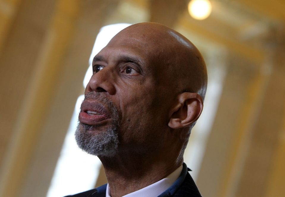 Kareem Abdul-Jabbar speaks at The American Cancer Society Cancer Action Network and Stand Up To Cancer discussion on the importance of cancer research at Cannon House Office Building on March 17, 2015 in Washington, DC. (Photo by Paul Morigi/WireImage)