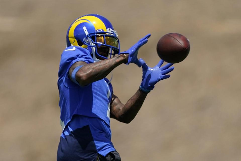 Rams wide receiver DeSean Jackson catches a pass during practice in Thousand Oaks.