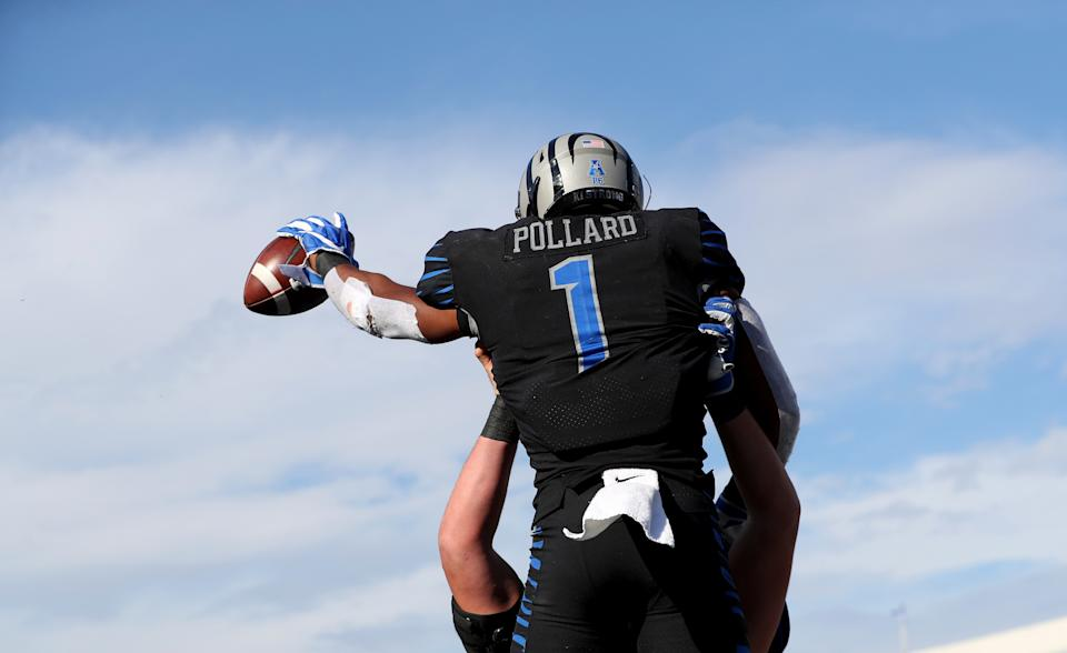 Tony Pollard made the most of his limited chances at Memphis, scoring 25 college touchdowns on only 332 career touches. (Photo by Joe Murphy/Getty Images)