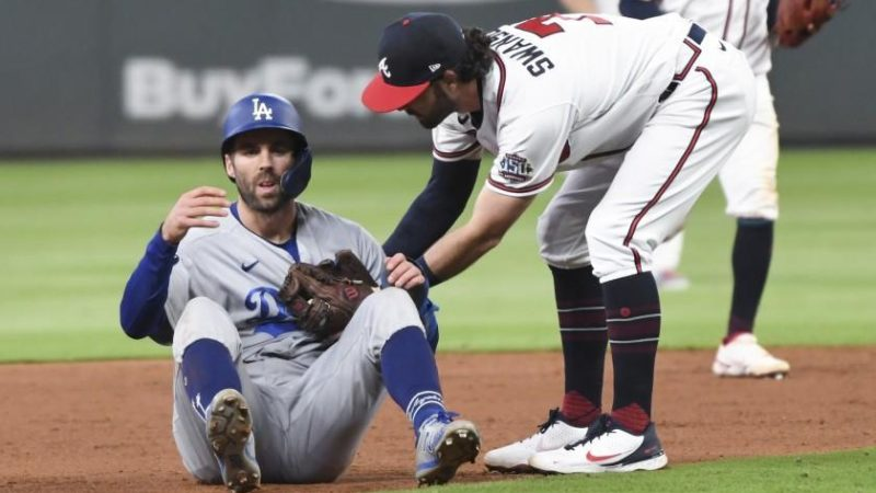 Plaschke: Dodgers' preordained World Series trek hits stumbling snag in Game 1 loss to Braves