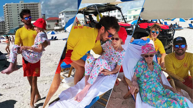 Alabama lifeguards help 95-year-old woman get to and from beach